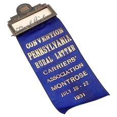 1931 Vintage Rural Letter Carriers Association Medal Ribbon US Mail Pennsylvania