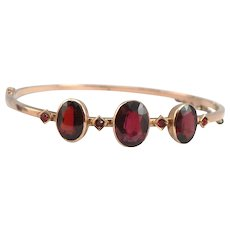 Antique Austro-Hungarian 14K Gold Bohemian Garnet Hinged Bangle Bracelet Victorian Edwardian