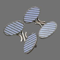 Vintage STERLING Silver Mini Oval Lavender Blue Enamel CUFFLINKS Cuff Buttons