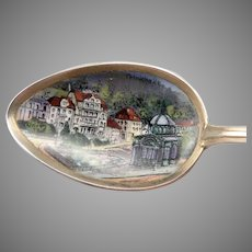 Vintage 800 Silver Enamel Trinkhalle Bad Wilbad Germany Souvenir Spoon Scenic