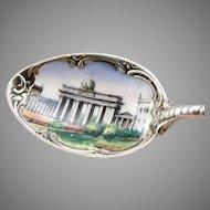 Vintage 800 Silver Enamel BERLIN Germany Souvenir Spoon Scenic Enameled Bowl