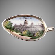 Vintage 800 Silver Enamel CARACAS Souvenir Spoon Venezuela UNIVERSITY Scenic