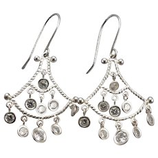 DIAMONIQUE CZ STERLING Silver Pierced Dangle Chandelier Earrings 3.8 Grams DQCZ