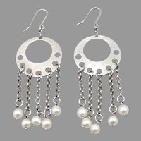Vintage Milor ITALY STERLING Silver Cultured Pearl Dangle Pierced EARRINGS 9.9g