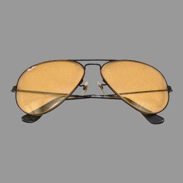 Vintage RAY BAN Sunglasses Sun Glasses Pilot Aviator Style AMBERMATIC Lens B&L