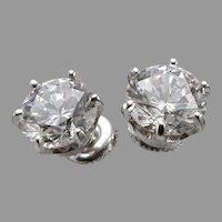 Vintage 14K White GOLD 8mm CZ Solitaire Pierced Stud EARRINGS 7tcw 3.8 Grams