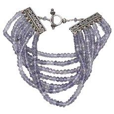 STERLING Silver Multi Strand 3.5mm TANZANITE Gem Bead Toggle Catch Bracelet