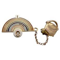 (I) Vintage 10K GOLD Enamel Masonic Order of RAINBOW GIRLS Pin Set Pot of Gold