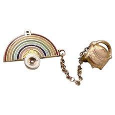 (J) Vintage 10K GOLD Enamel Masonic Order of RAINBOW GIRLS Pin Set Pot of Gold