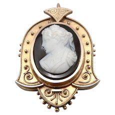 Antique Victorian 10K Yellow GOLD Hardstone CAMEO Brooch Pin or Pendant 8.1Grams