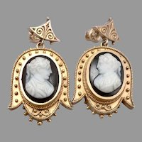 Antique Victorian 10K Yellow GOLD Hardstone CAMEO Pierced Dangle EARRINGS 8.8g