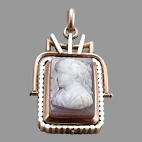 Antique Victorian 10K Rose GOLD Hardstone Agate CAMEO LOCKET Flip Fob Pendant