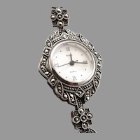 BOMA STERLING Silver Marcasite Quartz Ladies Wristwatch Wrist Watch MOP Dial