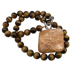 Vintage 10mm TIGER EYE Beaded NECKLACE Large JASPER Pendant Silver Toggle Catch