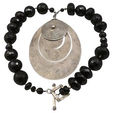 Vintage Bold Runway Necklace Black Onyx & Glass Beads Silverplate STERLING Catch