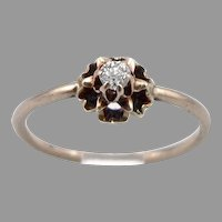 Antique Victorian 10K Gold Old European Cut 0.06ct DIAMOND Solitaire Ring 1.1g Size5