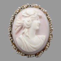 Vintage 10K GOLD Pink Conch Shell CAMEO Pin Brooch or Pendant Seed Pearls 7.8g