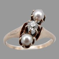 Antique Edwardian 14K GOLD Old Mine Cut .11ct Diamond PEARL RING 2.3g Sz5.5 OMC