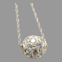 Vintage 14K GOLD CZ Ball Slide Pendant Add a Bead Chain Necklace Butterfly Catch