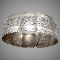 "Vintage STERLING Silver 11/16"" Wide Flexible Wrap Coil Cuff Bracelet Floral 9.4g"
