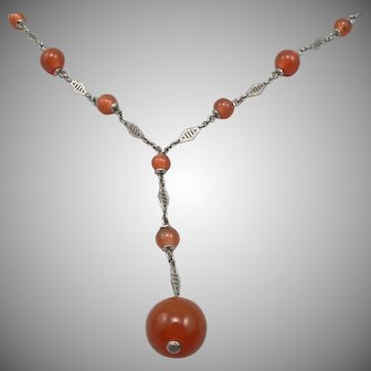 Vintage Germany ART DECO Carnelian GLASS Bead Silvertone Y NECKLACE Estate