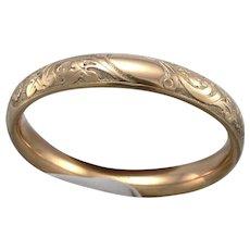 """Antique Victorian Gold Filled GF/RGP Hinged BANGLE Bracelet Scroll Design 6 3/4"""""""