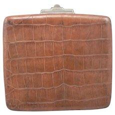 Antique Victorian Alligator Leather Locking Travel Document Paper Case Wallet