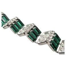 WEISS Vintage Art Deco Emerald Green White Rhinestone BRACELET Silvertone Estate