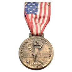 1937 Vintage ARION BROOKLYN European Tour Bronze Medal Choral Club USA FLAG