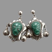 Vintage SILVER Carved Green Glass Mask Face Pierced Dangle EARRINGS Mexico 8.7g