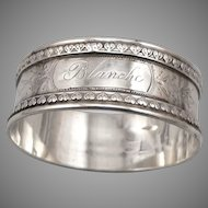 """Antique Victorian Solid SILVER Napkin Ring 'BLANCHE' Mono 5/8"""" Wide Edwardian"""