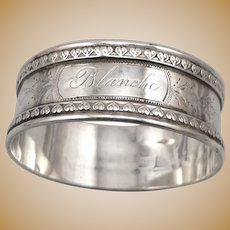 "Antique Victorian Solid SILVER Napkin Ring 'BLANCHE' Mono 5/8"" Wide Edwardian"