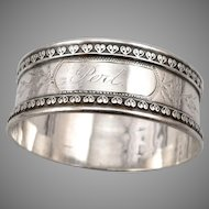 """Antique Victorian Solid SILVER Napkin Ring 'PERL' Mono 5/8"""" Wide Edwardian 14.2g"""