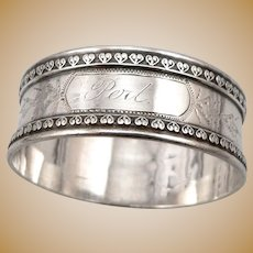"Antique Victorian Solid SILVER Napkin Ring 'PERL' Mono 5/8"" Wide Edwardian 14.2g"