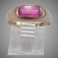 Vintage 10K GOLD Inlaid Lab RUBY Solitaire RING 3 Grams Size 7.5 Antique Estate