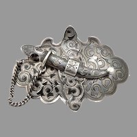 Antique RUSSIAN 84 SILVER Niello Belt Buckle Saber Catch Made into Brooch Pin