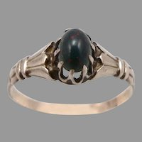 Antique Victorian 10K GOLD Bloodstone Cabochon Solitaire RING 1.3 Grams Size 6.5