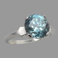 Vintage 14K White GOLD 3.17tcw Blue ZIRCON Solitaire Ring 3.1g Size 4.75 Pinky