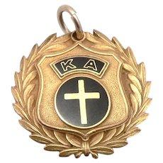 Vintage KAPPA ALPHA Black Enamel Charm Fob Medal Graduation Award Badge Goldtone