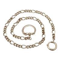 Vintage Heavy Figaro CHAIN Keychain KEY Holder Ring Wallet Safety Watch Goldtone
