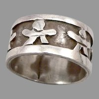 Vintage STERLING Silver MEXICO Wide Ring Band Child Figure Design 8.2g Size 9