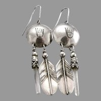 Vintage Southwestern SILVER Quartz Crystal Dangle Earrings Bear Paw Feather 3.5g