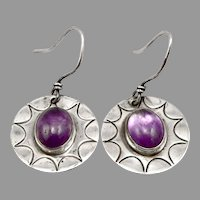 Vintage SILVER and AMETHYST Cabochon Pierced Dangle Earrings 5g Stamped Sunburst