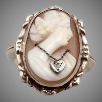Vintage 10K GOLD Hand Carved Shell Cameo RING Rose Cut Diamond 3.6grams Size 5.5