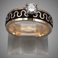 Vintage ARTCARVED 14K GOLD .25ct Diamond Engagement Ring 5mm Wide 3.7g Size 4.5