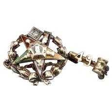1949 Vintage Order of the Eastern Star 14K GOLD OES Enamel Pin Diamond Matron 2g
