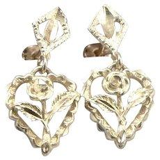 10K Yellow GOLD Bright Cut Rose Flower Heart Dangle Pierced Earrings 1.6g Estate