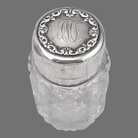 Antique STERLING Silver Cut Glass Dresser Jar With Stopper Whiting Mfg Vintage