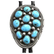 Vintage STERLING Silver Turquoise Leather BOLO TIE Southwestern Navajo Secatero