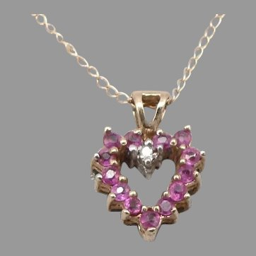 10K Yellow GOLD Reversible RUBY Blue SAPPHIRE HEART Pendant Chain Necklace 1.3g